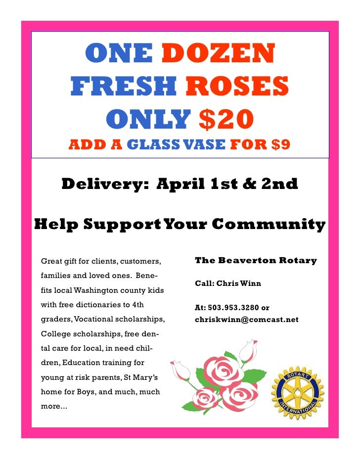 ONE DOZEN           FRESH ROSES             ONLY $20           ADD A GLASS VASE FOR $9       Delivery: April 1st & 2nd  He...