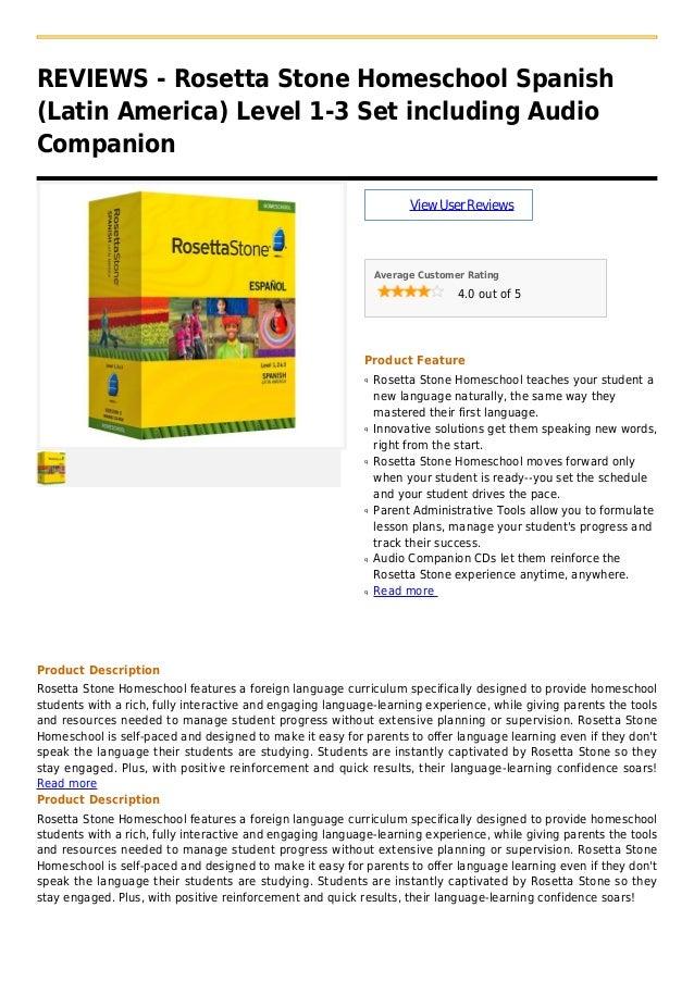 REVIEWS - Rosetta Stone Homeschool Spanish(Latin America) Level 1-3 Set including AudioCompanionViewUserReviewsAverage Cus...