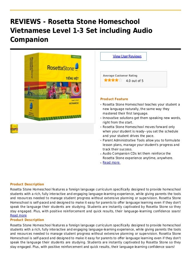 REVIEWS - Rosetta Stone HomeschoolVietnamese Level 1-3 Set including AudioCompanionViewUserReviewsAverage Customer Rating4...
