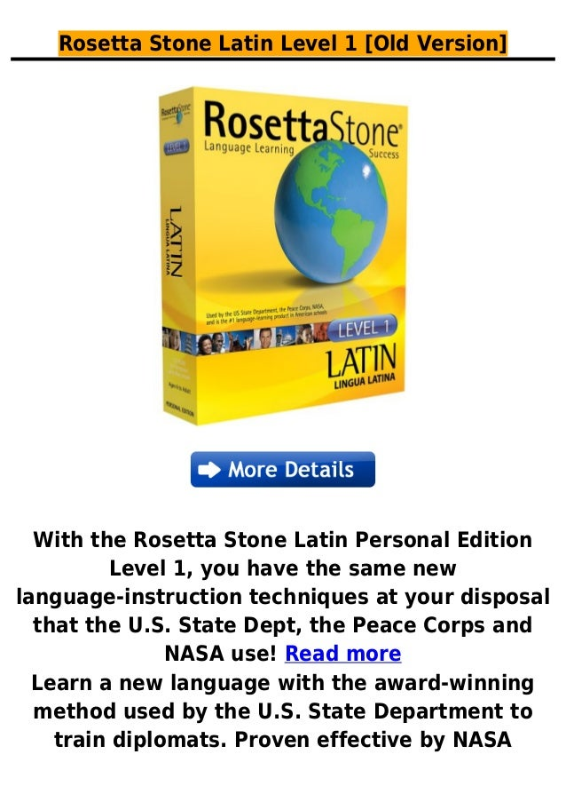 Rosetta Stone Latin Level 1 [Old Version]With the Rosetta Stone Latin Personal EditionLevel 1, you have the same newlangua...