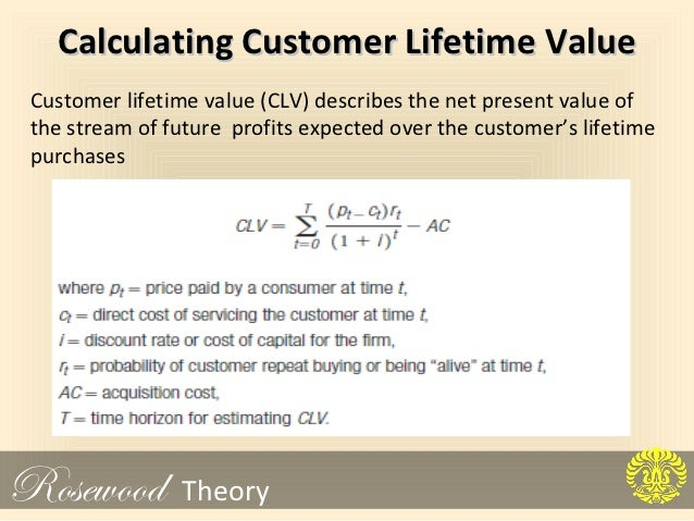 clv calculation for rosewood Implementing the concepts of customer lifetime value the clv calculations seem to be the major issue of the rosewood case is whether the rosewood.