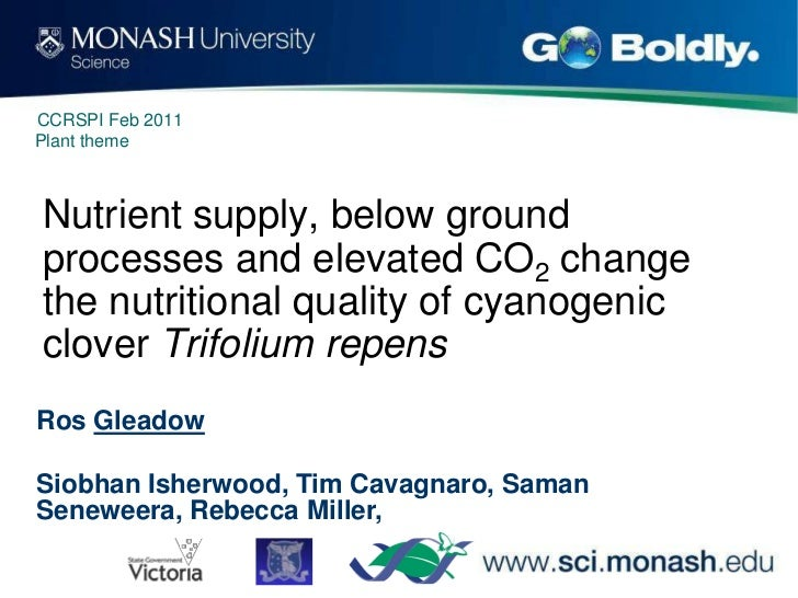 CCRSPI Feb 2011Plant themeNutrient supply, below groundprocesses and elevated CO2 changethe nutritional quality of cyanoge...