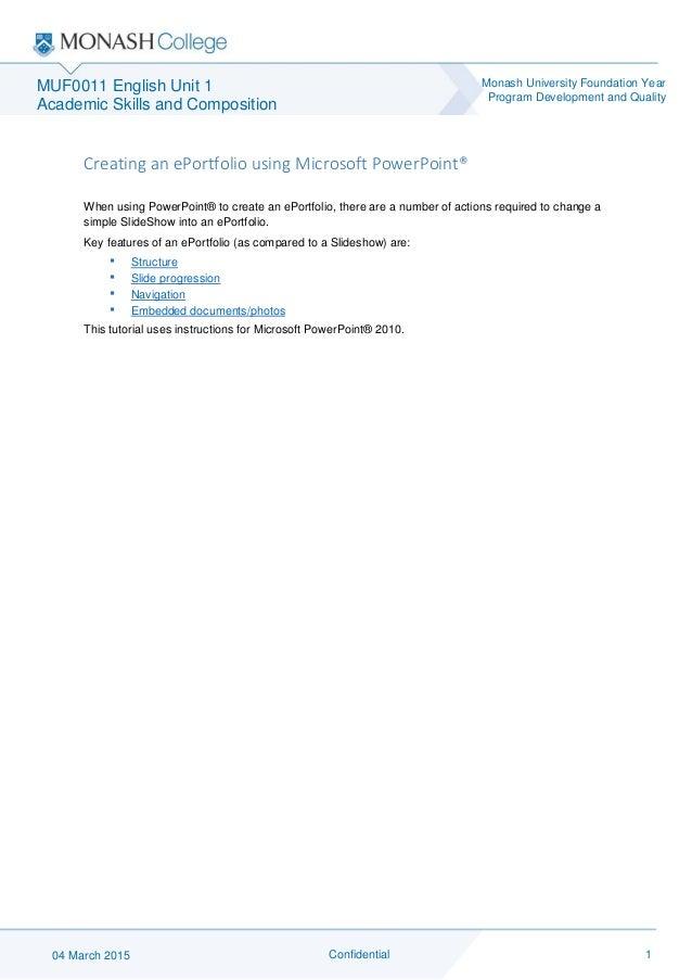 Creating An Eportfolio Using Microsoft Powerpoint Rosie Mackay