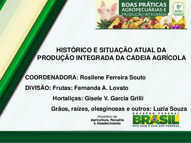 HISTÓRICO E SITUAÇÃO ATUAL DA PRODUÇÃO INTEGRADA DA CADEIA AGRÍCOLA  COORDENADORA: Rosilene Ferreira Souto  DIVISÃO: Fruta...