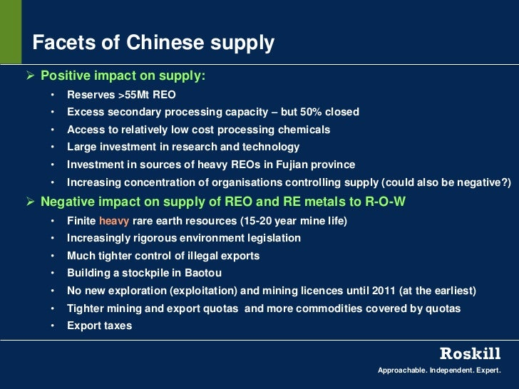 Facets of Chinese supply Positive impact on supply:   •   Reserves >55Mt REO   •   Excess secondary processing capacity –...