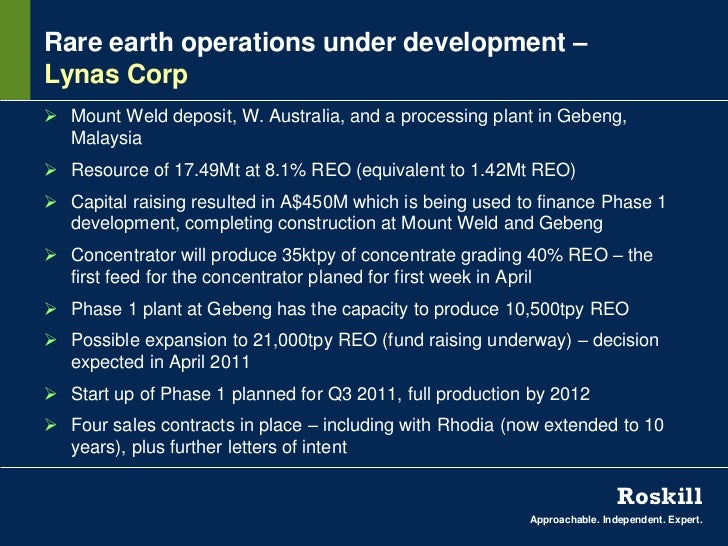 Rare earth operations under development –Lynas Corp Mount Weld deposit, W. Australia, and a processing plant in Gebeng,  ...