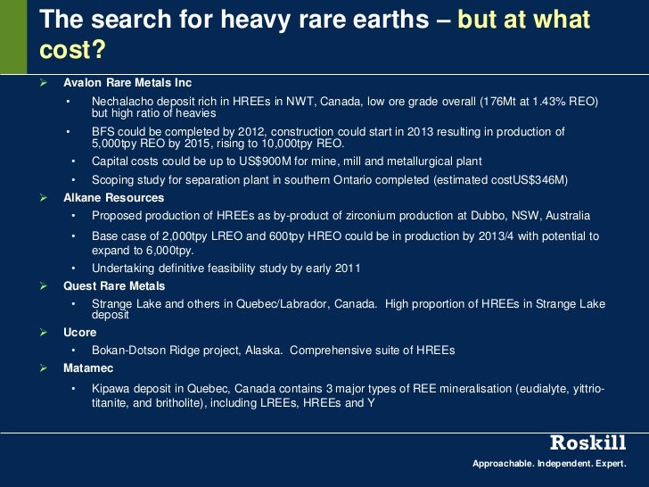The search for heavy rare earths – but at whatcost?   Avalon Rare Metals Inc    •       Nechalacho deposit rich in HREEs ...