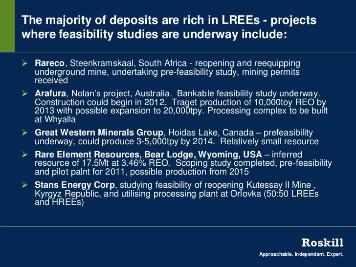 The majority of deposits are rich in LREEs - projectswhere feasibility studies are underway include: Rareco, Steenkramska...