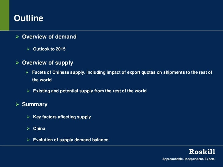 Outline Overview of demand    Outlook to 2015 Overview of supply    Facets of Chinese supply, including impact of expo...