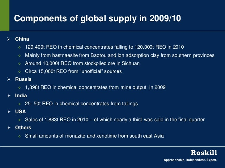 Components of global supply in 2009/10 China      129,400t REO in chemical concentrates falling to 120,000t REO in 2010 ...