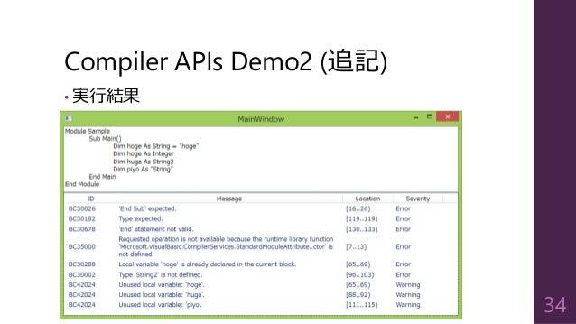 Compiler APIs Demo2 (追記) • 実行結果 34