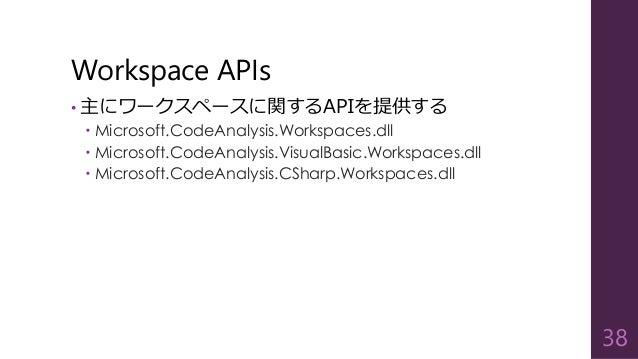 Workspace APIs • 主にワークスペースに関するAPIを提供する  Microsoft.CodeAnalysis.Workspaces.dll  Microsoft.CodeAnalysis.VisualBasic.Worksp...