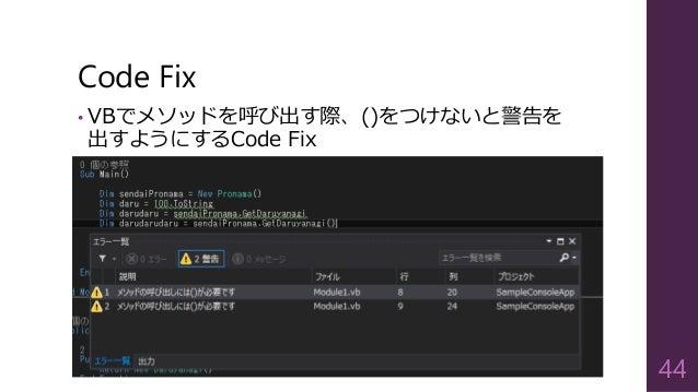 Code Fix 44 • VBでメソッドを呼び出す際、()をつけないと警告を 出すようにするCode Fix