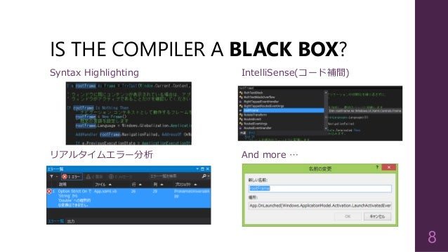 IS THE COMPILER A BLACK BOX? 8 リアルタイムエラー分析 Syntax Highlighting And more … IntelliSense(コード補間)