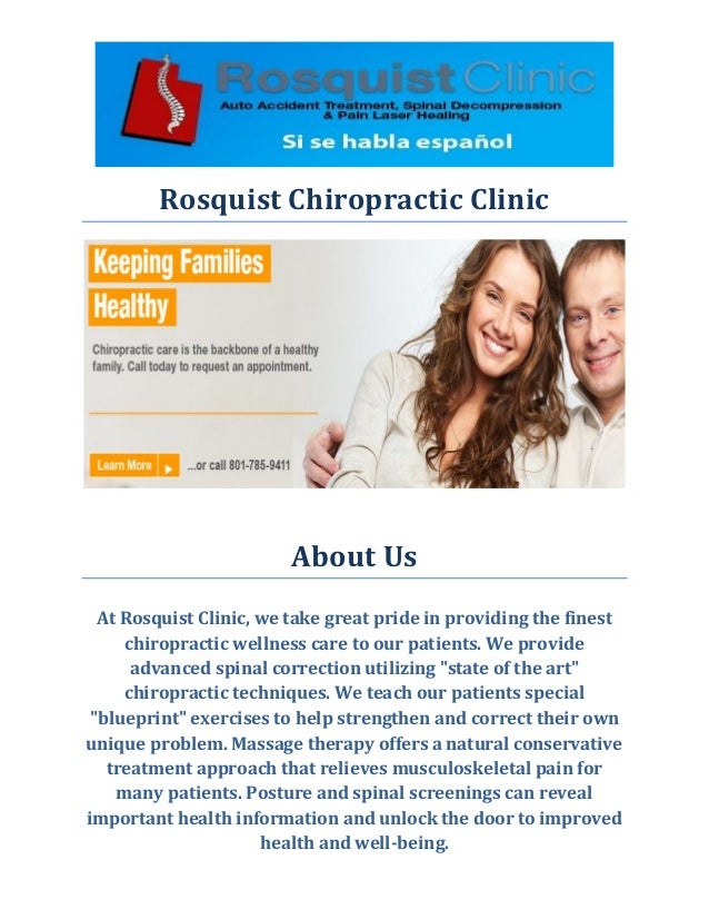 Rosquist Chiropractic Clinic  About Us  At Rosquist Clinic, we take great pride in providing the finest chiropractic welln...