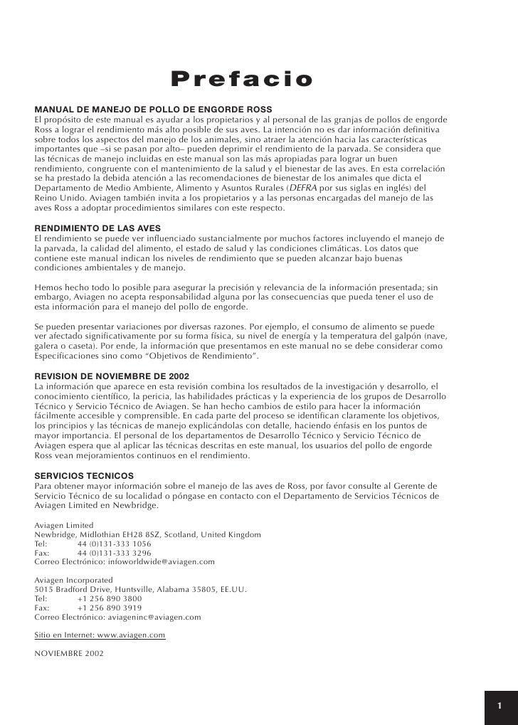 PrefacioMANUAL DE MANEJO DE POLLO DE ENGORDE ROSSEl propósito de este manual es ayudar a los propietarios y al personal de...