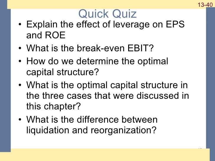 chapter 13 questions capital structure and Chapter 13 - leverage and capital structure multiple choice questions 85 jasper industrial has no debt outstanding and a total market value of $110,000.