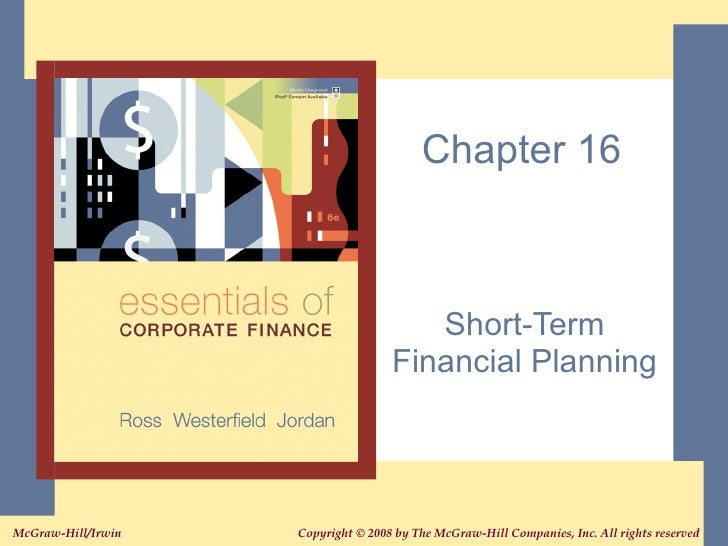 Chapter 16 Short-Term Financial Planning