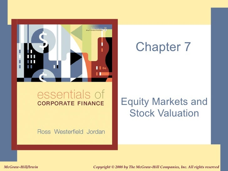 Chapter 7 Equity Markets and Stock Valuation