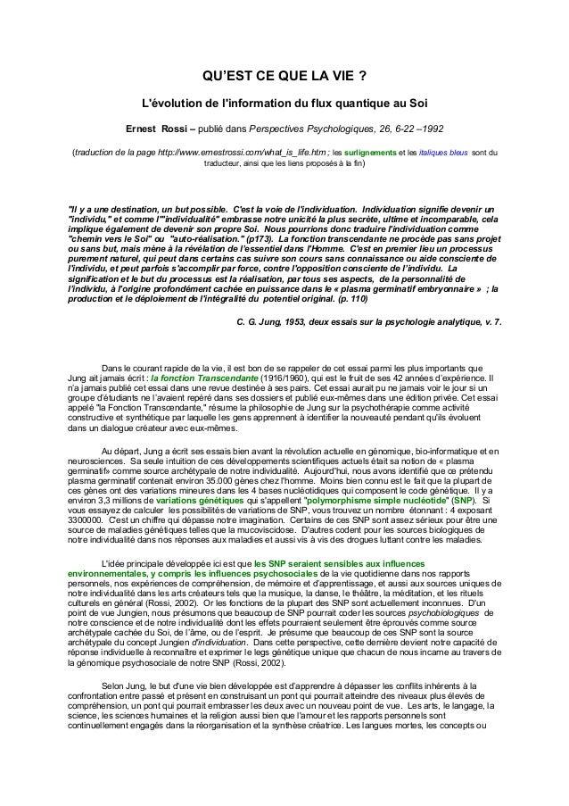 QU'EST CE QUE LA VIE ?  L'évolution de l'information du flux quantique au Soi  Ernest Rossi – publié dans Perspectives Psy...