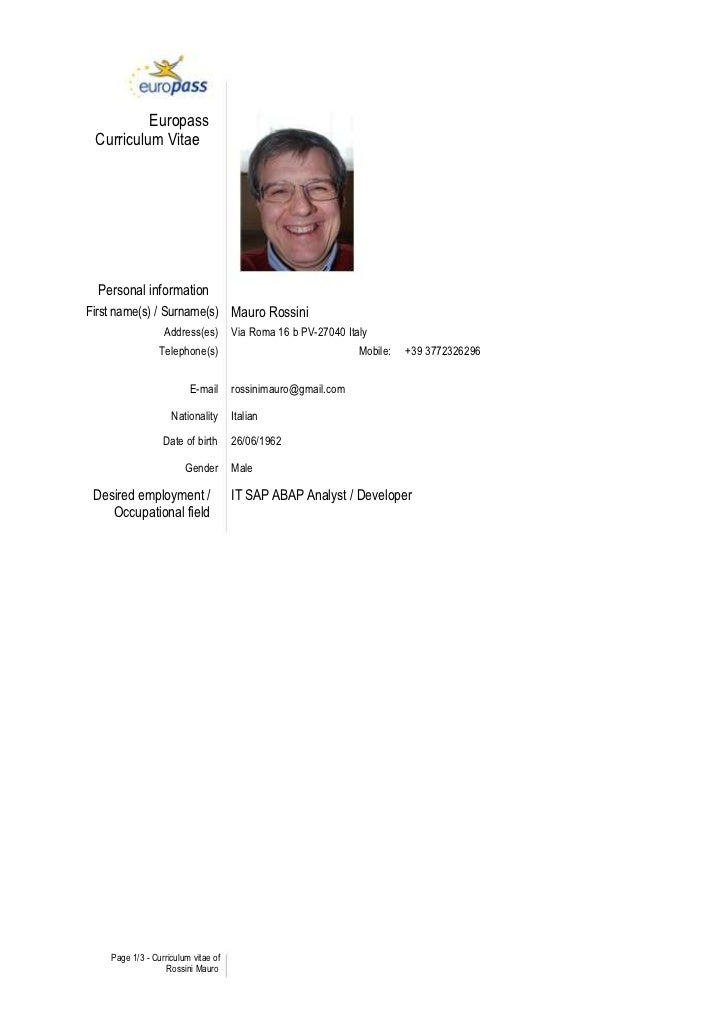 rossini sap abap freelance resume europass curriculum vitae personal informationfirst names surnames mauro rossini