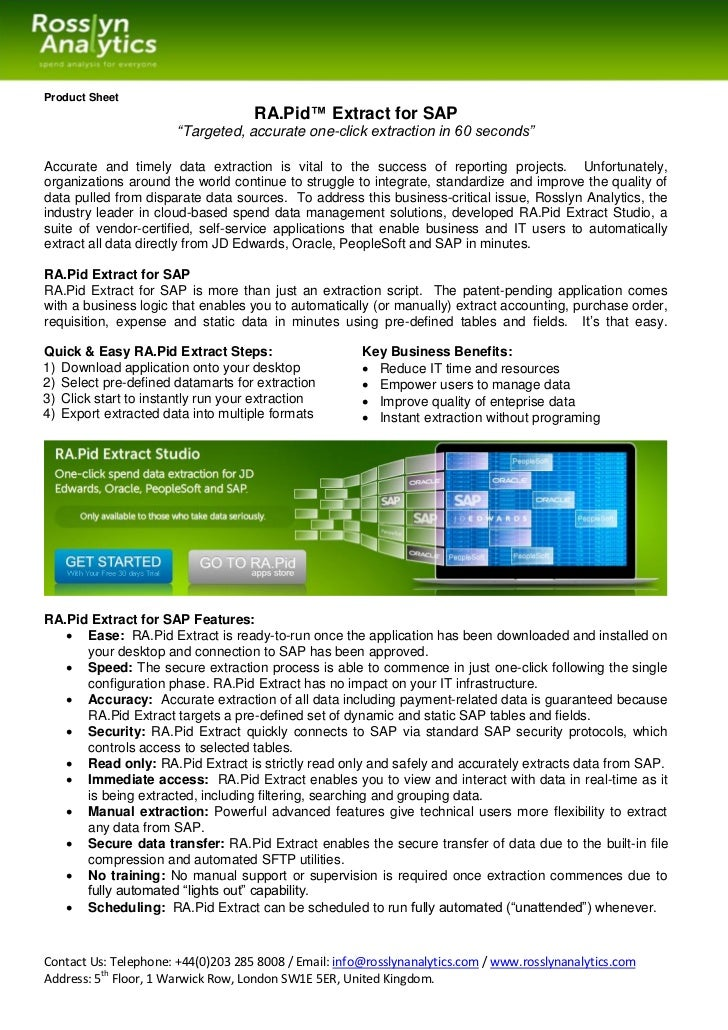 "Product Sheet                                    RA.Pid™ Extract for SAP                       ""Targeted, accurate one-cli..."