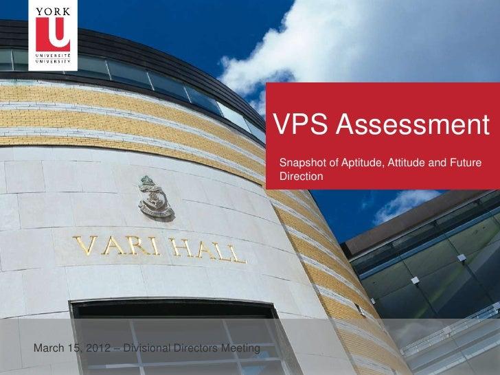 VPS Assessment                                                    Snapshot of Aptitude, Attitude and Future               ...