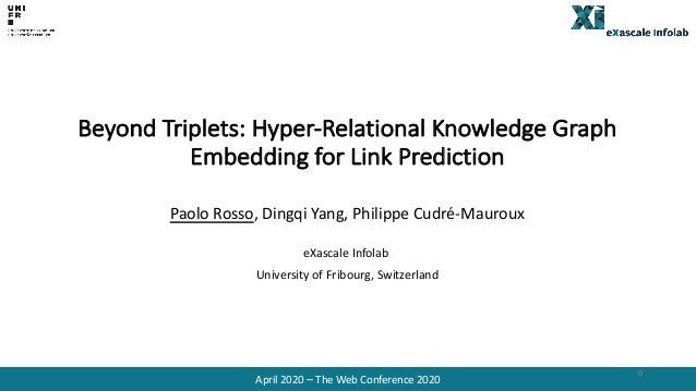 Beyond Triplets: Hyper-Relational Knowledge Graph Embedding for Link Prediction Paolo Rosso, Dingqi Yang, Philippe Cudré-M...