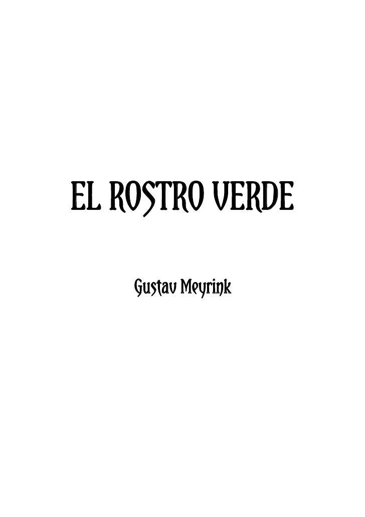 EL ROSTRO VERDE      Gustav Meyrink