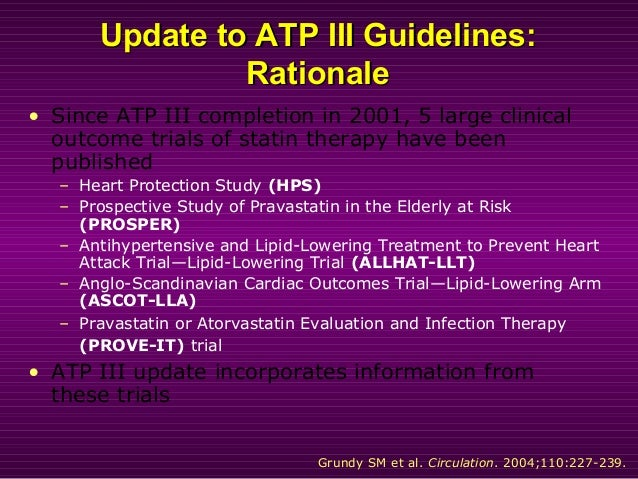 Update to ATP III Guidelines:Update to ATP III Guidelines: RationaleRationale • Since ATP III completion in 2001, 5 large ...