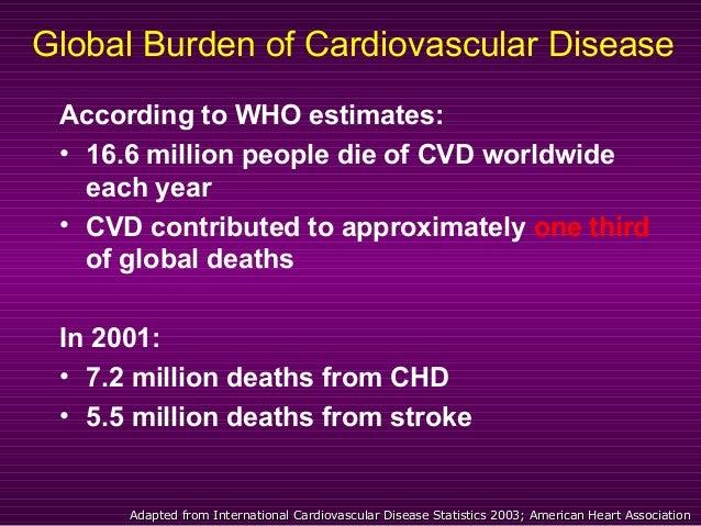 Global Burden of Cardiovascular Disease According to WHO estimates: • 16.6 million people die of CVD worldwide each year •...