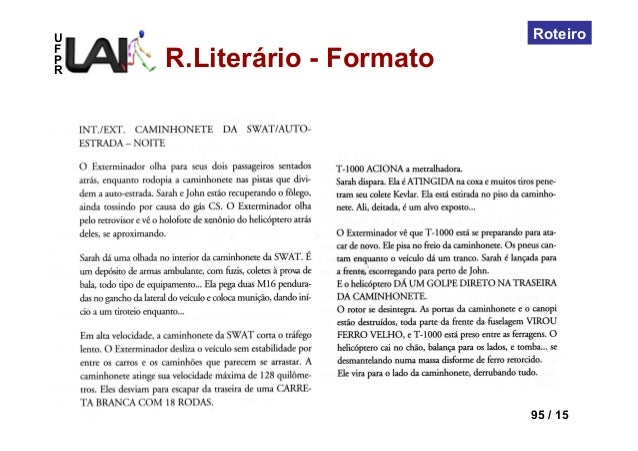 UFPRLAI-DI – Dep. Design 95 / 15RoteiroR.Literário - Formato