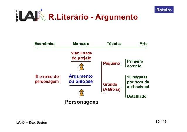 UFPRLAI-DI – Dep. Design 95 / 16RoteiroPersonagensArgumentoou SinopseÉ o reino dopersonagemViabilidadedo projetoEconômica ...
