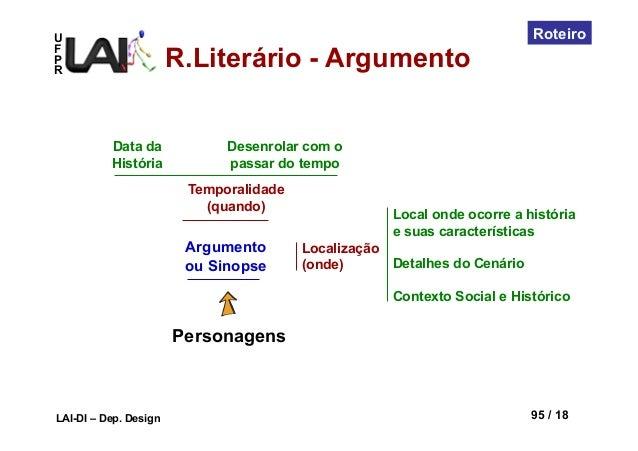 UFPRLAI-DI – Dep. Design 95 / 18RoteiroPersonagensArgumentoou SinopseTemporalidade(quando)Localização(onde)Local onde ocor...
