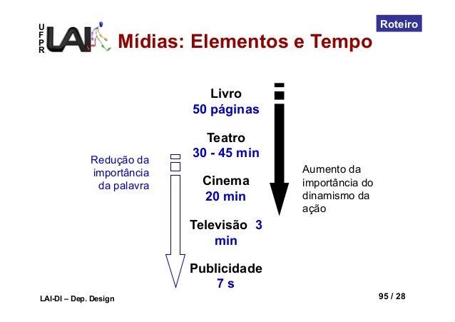 UFPRLAI-DI – Dep. Design 95 / 28RoteiroLivro50 páginasTeatro30 - 45 minCinema20 minTelevisão 3minPublicidade7 sRedução dai...