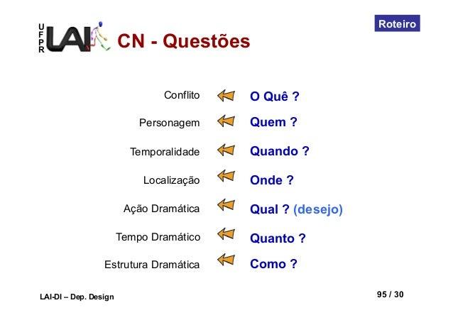 UFPRLAI-DI – Dep. Design 95 / 30RoteiroConflitoPersonagemTemporalidadeLocalizaçãoAção DramáticaTempo DramáticoEstrutura Dr...