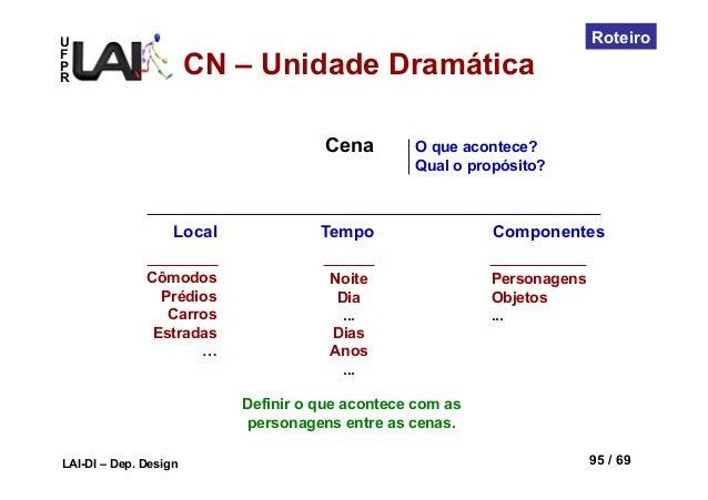 UFPRLAI-DI – Dep. Design 95 / 69RoteiroCenaLocal TempoCômodosPrédiosCarrosEstradas…NoiteDia...DiasAnos...ComponentesPerson...