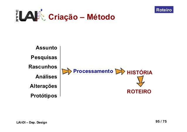 UFPRLAI-DI – Dep. Design 95 / 75RoteiroAssuntoPesquisasRascunhosAnálisesAlteraçõesProtótiposHISTÓRIAROTEIROProcessamentoCr...