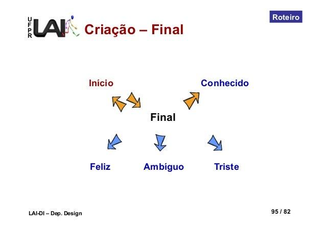 UFPRLAI-DI – Dep. Design 95 / 82RoteiroFinalConhecidoFeliz Ambíguo TristeInícioCriação – Final