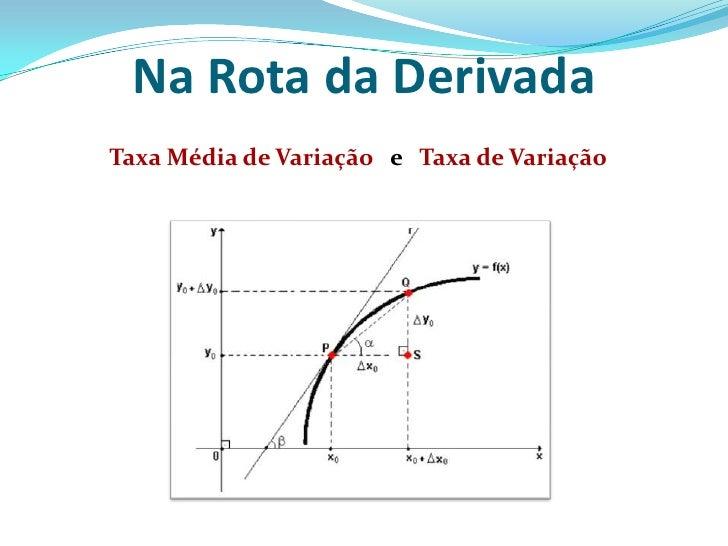 Na Rota da Derivada<br />Taxa Média de Variação   e   Taxa de Variação<br />