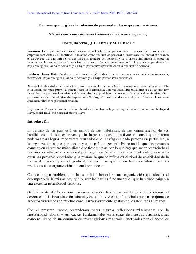 Daena: International Journal of Good Conscience. 3(1) : 65-99. Marzo 2008. ISSN 1870-557X.Factores que originan la rotació...