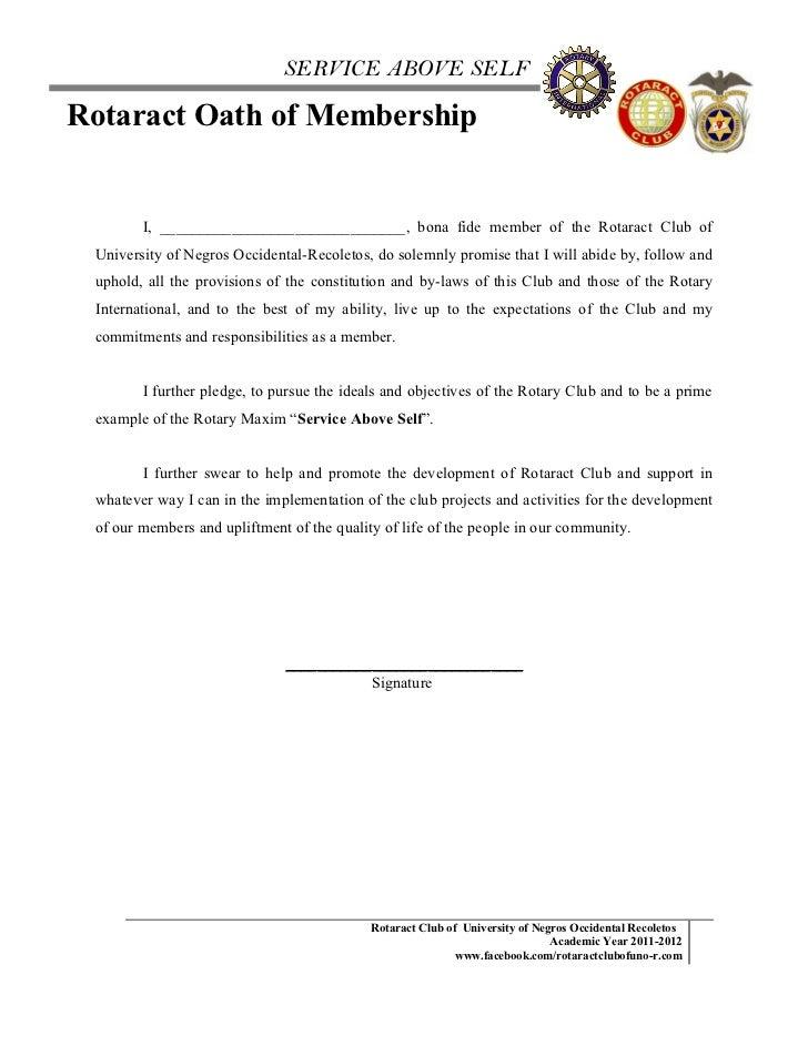 Rotaract oath of membership