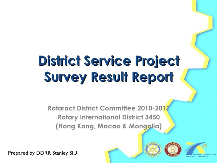 District Service Project Survey Result Report Rotaract District Committee 2010-2011 Rotary International District 3450 (Ho...