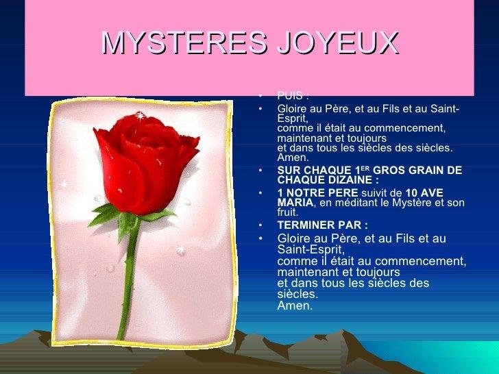 MYSTERES JOYEUX <ul><li>PUIS : </li></ul><ul><li>Gloire au Père, et au Fils et au Saint-Esprit,  comme il était au commenc...