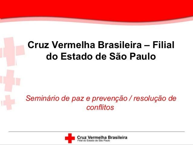 Cruz Vermelha Brasileira – Filial do Estado de São Paulo Seminário de paz e prevenção / resolução de conflitos