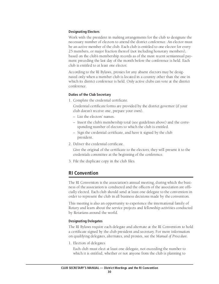 Rotary club secretarys manual – Club Bylaws Template