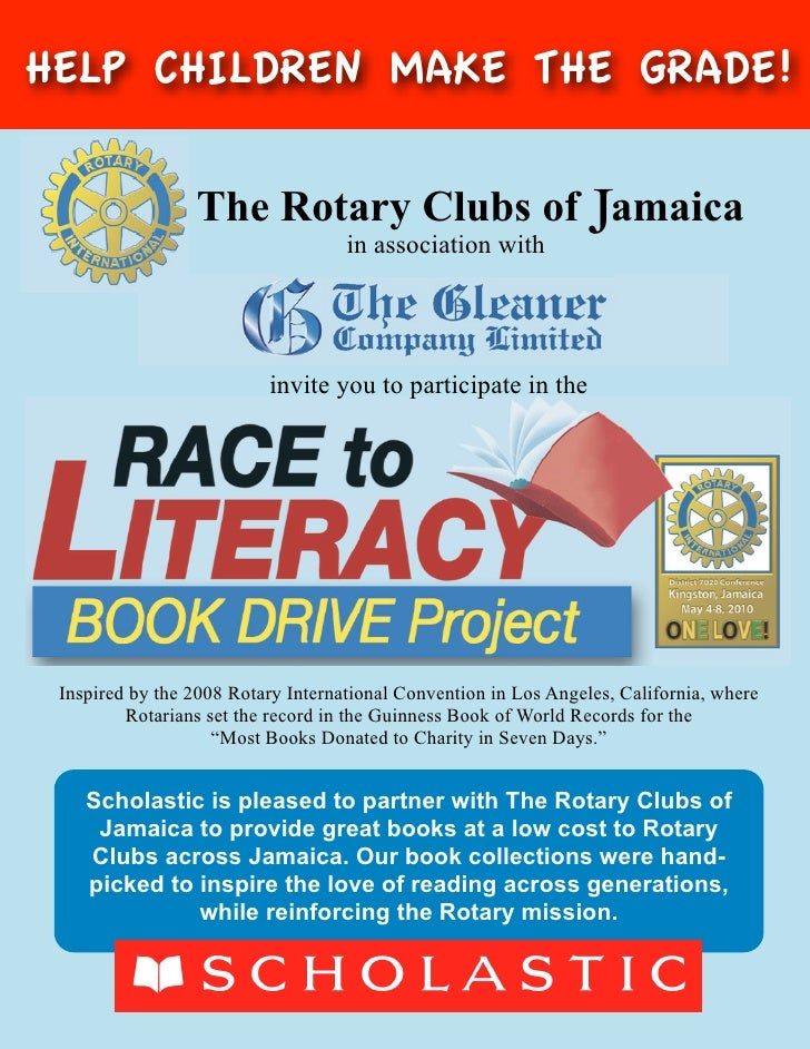HELP CHILDREN MAKE THE GRADE!                   The Rotary Clubs of Jamaica                                     in associa...