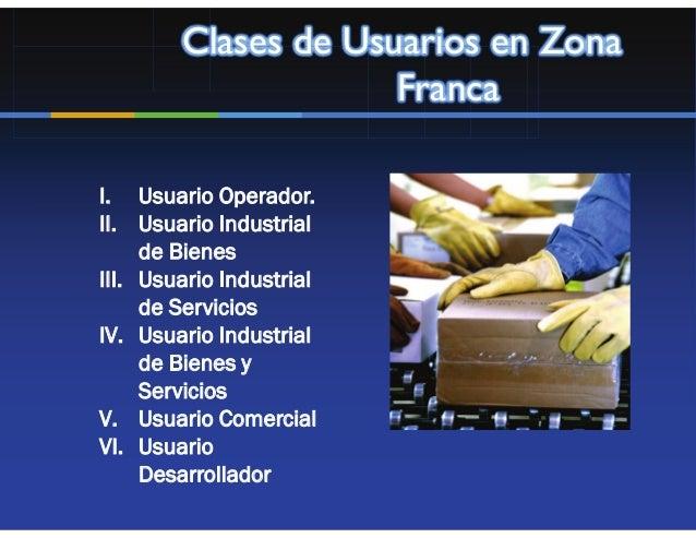 Clases de Usuarios en Zona                     FrancaI. Usuario Operador.II. Usuario Industrial     de BienesIII. Usuario ...