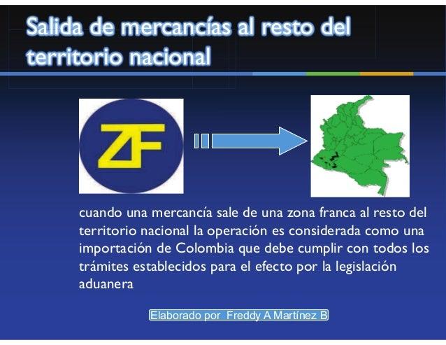 Salida de Mercancías de ZonaFranca al Territorio Aduanero          Nacional               • Procesamiento Parcial         ...
