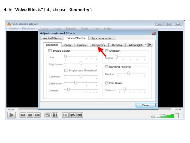 Rotate and save video with vlc media player v212 in video effects tab choose geometry ccuart Image collections